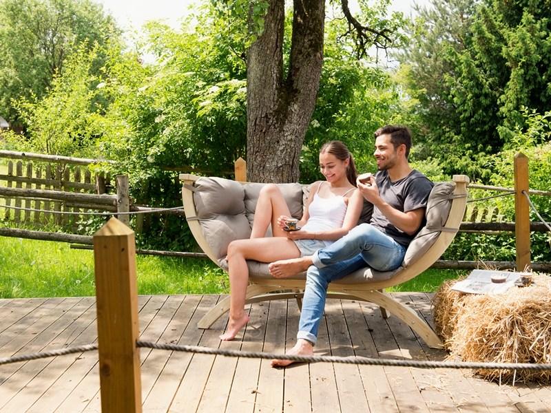 Fotel dwuosobowy drewniany